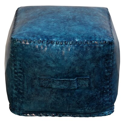Hardt Leather Cube Ottoman Upholstery: Blue