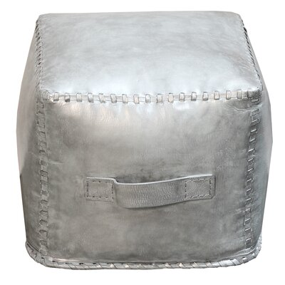 Hardt Leather Cube Ottoman Upholstery: Silver