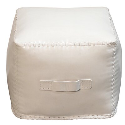 Hardt Leather Cube Ottoman Upholstery: White