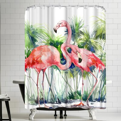 Suren Nersisyan Flamingos III Shower Curtain