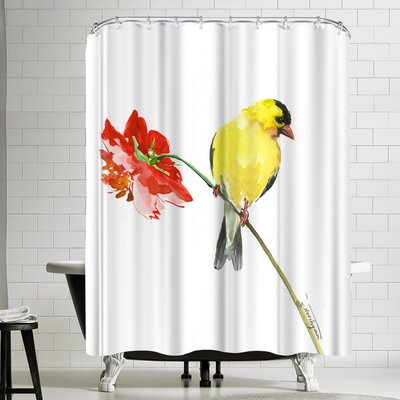 Suren Nersisyan Goldfinch and Red Flower I Shower Curtain