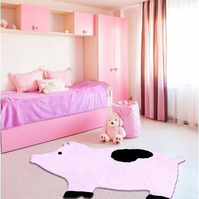 Howell Pig Faux Sheepskin Hand-Woven Pink Area Rug