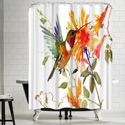 Suren Nersisyan Hummingbird and Orange Flowers Shower Curtain