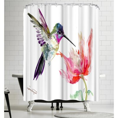 Suren Nersisyan Hummingbird and Tulip Shower Curtain