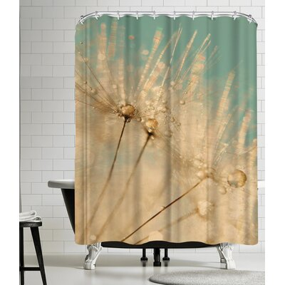 Dandelion Mint Gold Shower Curtain