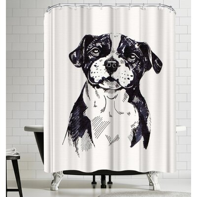 Eve Izzett Staffy Pup Sketch Shower Curtain