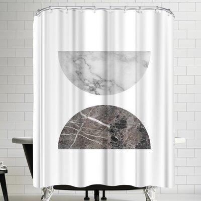 Ikonolexi Geometric Marble Half Moon Circles Shower Curtain
