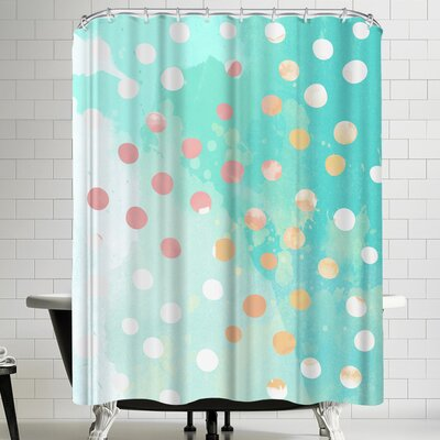 Ikonolexi Turquoise Watercolor Painting Shower Curtain