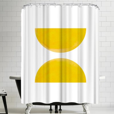 Ikonolexi Watercolor Yellow Half Moon Circles Shower Curtain