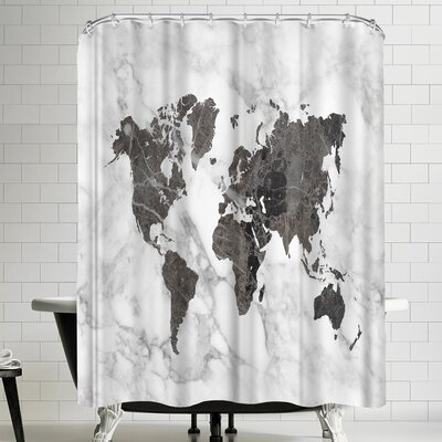 Ikonolexi World Map Art Black And White Marble Shower Curtain
