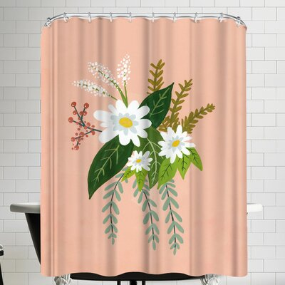 Annie Bailey Folk Art Flowers No I Shower Curtain