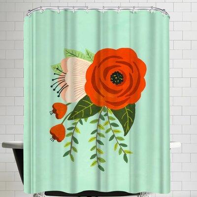 Annie Bailey Folk Art Flowers No II Shower Curtain
