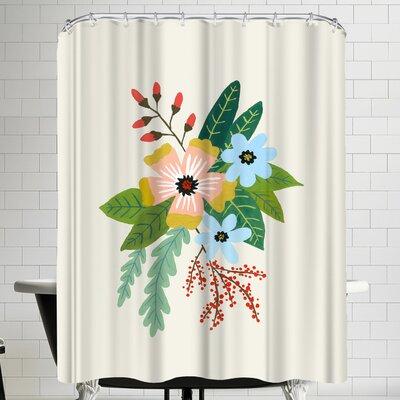 Annie Bailey Folk Art Flowers No IIII Shower Curtain