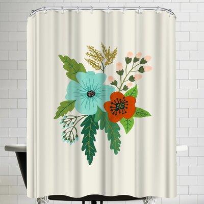 Annie Bailey Folk Art Flowers No V Shower Curtain