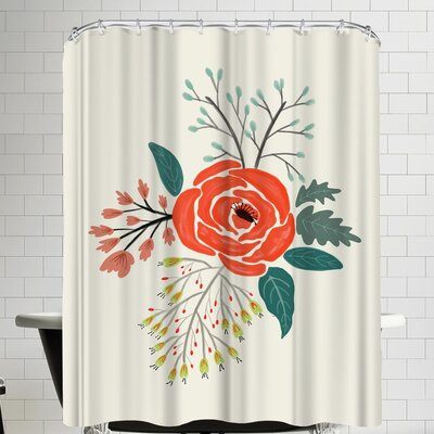 Annie Bailey Folk Art Flowers No VI Shower Curtain