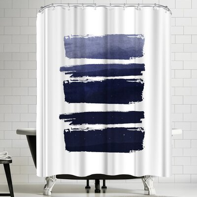 Ikonolexi Watercolor Strokes Shower Curtain Color: White/Cobalt Blue