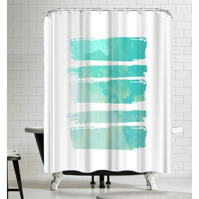 Ikonolexi Watercolor Strokes Shower Curtain Color: White/Light Blue