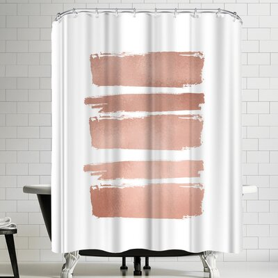 Ikonolexi Watercolor Strokes Shower Curtain Color: White/Peach