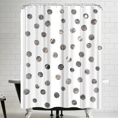 Ikonolexi Marble Circle Pattern Shower Curtain Color: White/Charcoal Gray