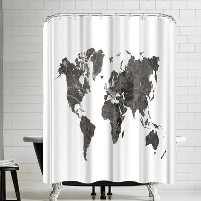 Ikonolexi World Map Shower Curtain Color: White/Charcoal Gray