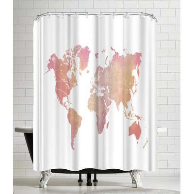 Ikonolexi World Map Shower Curtain Color: White/Copper