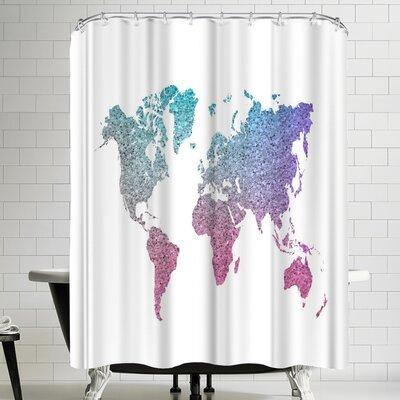 Ikonolexi World Map Shower Curtain Color: White/Medium Rose