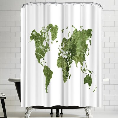 Ikonolexi World Map Shower Curtain Color: White/Olive Green