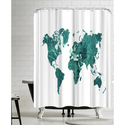 Ikonolexi World Map Shower Curtain Color: White/Teal Blue