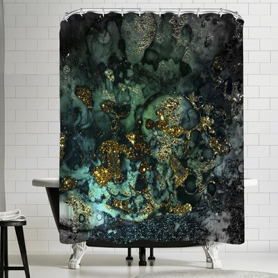 Grab My Art Luxury Dark Malachite Gold Gem Agate And Marble Texture Shower Curtain