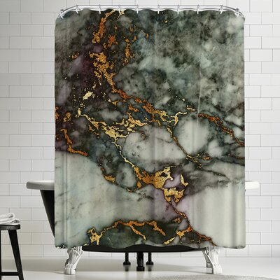Grab My Art Luxury Green And Gold Glitter Gem Agate And Marble Texture Shower Curtain