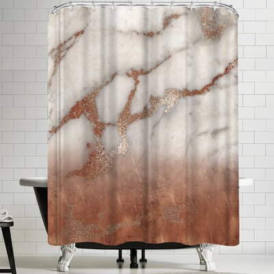 Grab My Art Luxury Metal Copper And Luxury Marble Texture Shower Curtain