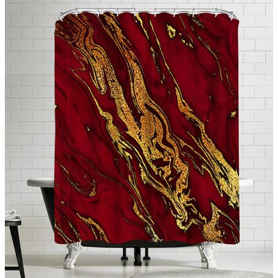 Grab My Art Luxury Red And Gold Glitter Gem Agate And Marble Texture Shower Curtain