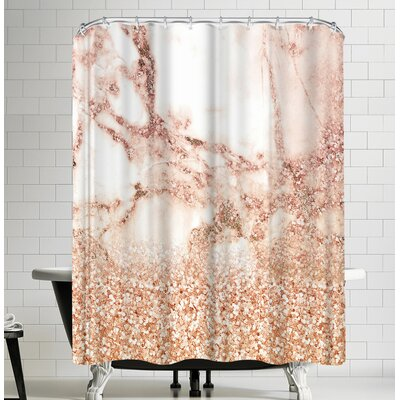 Grab My Art Luxury Rose Gold Glitter And Marble Texture Shower Curtain