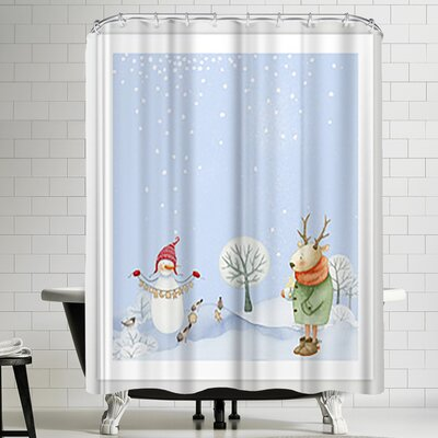 Grab My Art Merry Christmas Snowman Deer And Birds Are Having Winter Fun Shower Curtain