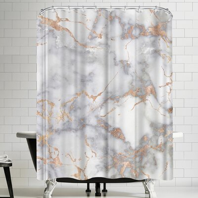 Grab My Art Shiny Rose Gold Blush Metal Foil On Marble Shower Curtain