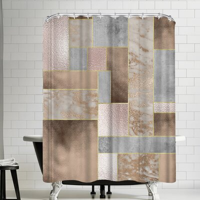 Grab My Art Shiny Rose Gold Marble Copper Shower Curtain