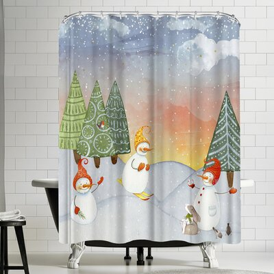 Grab My Art SkIIng Snowman In Winterforest With Bunny Shower Curtain