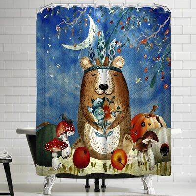 Grab My Art Sleepy Bear In Autumnal Forest Shower Curtain