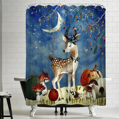 Grab My Art Sleepy Deer In Autumnal Forest Shower Curtain