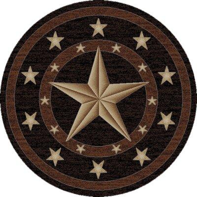 Durango Western Star Brown Area Rug Rug Size: Round 53