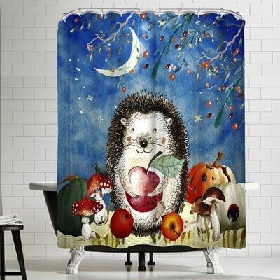 Grab My Art Sleepy Hegdehog In Autumnal Forest Shower Curtain