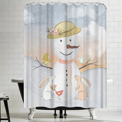 Grab My Art Snow Woman In Winter Forest With Animal Friends Shower Curtain