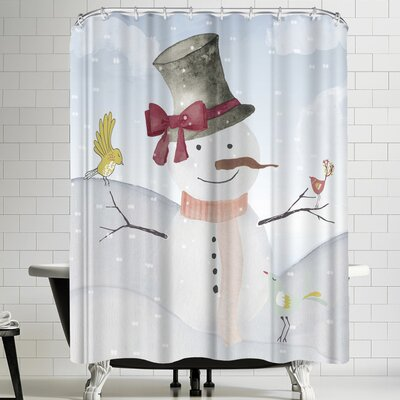 Grab My Art Snowman In Winter Forest With Animal Friends Shower Curtain