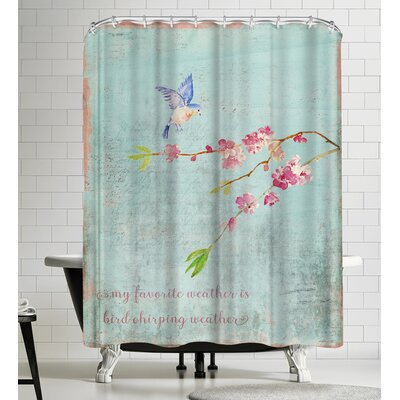 Grab My Art Spring Bird Sakura And Cherry Blossom Shower Curtain