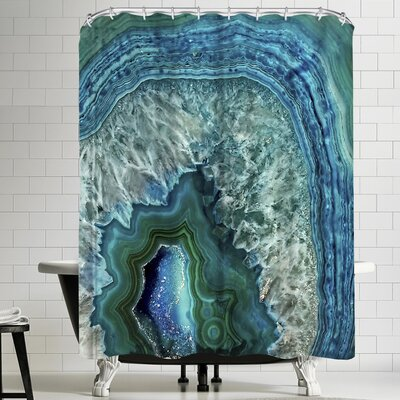 Grab My Art Teal Luxury Gem Stone Agate Marble Shower Curtain
