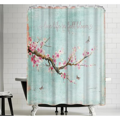 Grab My Art Teal Spring Sakura Cherry Blossom Shower Curtain