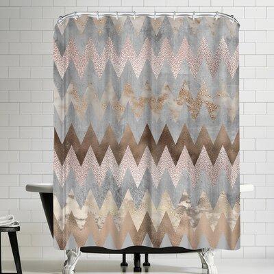 Grab My Art Trendy Rose Gold Marble Copper Chevron Shower Curtain