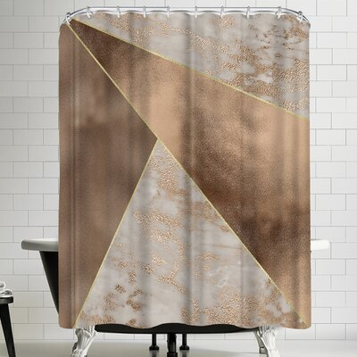 Grab My Art Trendy Rose Gold Marble Copper Triangle Shower Curtain