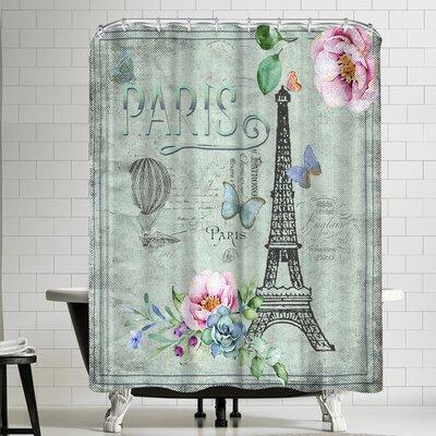 Grab My Art Vintage Typography Paris And Eiffeltower Shower Curtain
