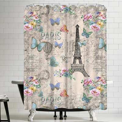 Grab My Art Vintage Typography Paris And Eiffel Tower Shower Curtain